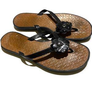 Coach Lindy Leather Flip Flop Sandal Black 6